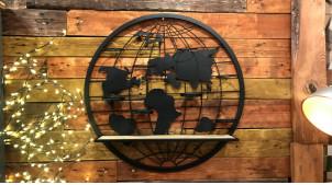 Étagère murale d'entrée (ou chambre d'enfant) en métal et bois, en forme de planisphère ajouré avec supports pots à crayons, Ø70cm