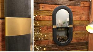 Miroir en bois de forme ovale avec encadrement habillé de velours gris satiné, ambiance cabaret chic, 80cm