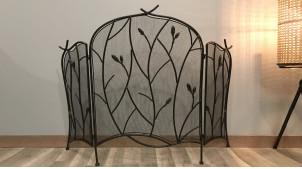 Pare-feu en métal à trois pans, finition noir charbon ambiance fer forgé, motifs végétaux, 115cm ouvert
