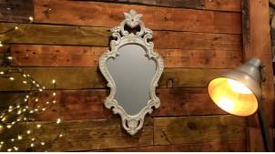 Miroir mural en bois sculpté, esprit baroque finition blanchi, 56cm