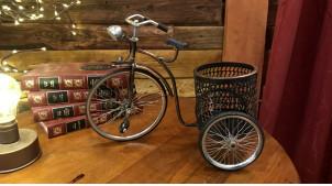 Pot à crayon en forme d'ancien vélo, en métal finition cuivré ancien, 29cm