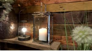 Lanterne rectangulaire en métal chromé argent et verre, ambiance épurée moderne, 33cm