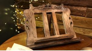 Lutrin en bois de manguier sculpté, petit modèle, ambiance classe de musique, 36cm