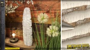Vase en résine en forme de grande feuille allongée, finition blanchie, 58cm