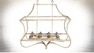 Suspension cage en métal finition crème antique, 8 feux centraux, 90cm