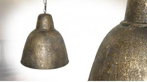 Suspension cloche en métal finition oxydé doré ancien, ambiance indus, Ø40cm