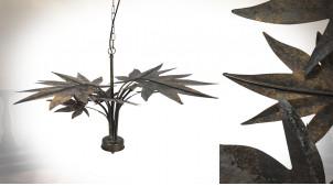 Grande suspension à 4 feux en métal, grandes feuilles finition laiton vieilli, Ø86cm