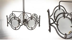Suspension à 3 feux en métal et verre, finition argent vieilli, 7 panneaux circulaires, Ø60cm