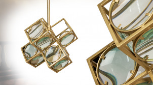 Suspension moderne en métal et verre, finition laiton doré, ambiance cubique, 46cm