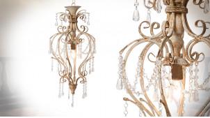 Suspension classique à pampilles, en métal vieilli et acrylique transparent, ambiance chic, 70cm