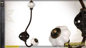 Portemanteau de style rétro en métal et porcelaine