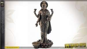 Statuette Lakshmi la déesse de la fortune finition bronze antique