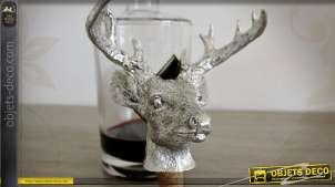 Bouchon décoratif en forme de tête de cerf argentée