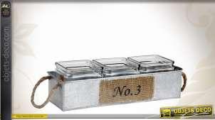 Jardinière en zinc avec ses trois pots carrés en verre
