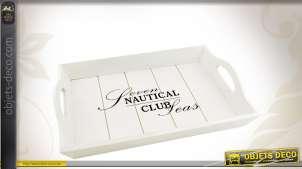Série de 3 plateaux en bois laqués blanc thème Club Nautique