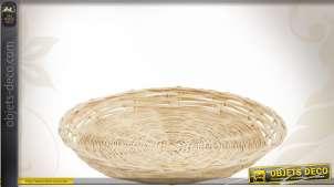 Corbeille plate en bambou Ø 20 cm : lot de 10