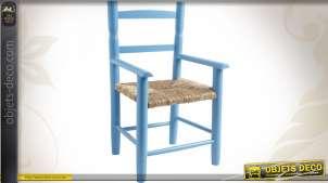 Chaise enfant en hêtre laqué bleu ciel, siège roseau