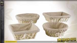 Lot assorti de 4 corbeilles en osier avec doublures 100 % jute