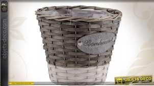 Cache pot en osier tressé, bois et métal, finitions effet anciennes, style campagne chic, 20cm