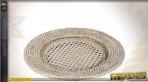 Assiette en rotin blanc Ø 32 cm