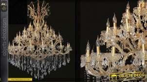 Lustre monumental coloris or Ø 170 cm à 60 points de lumière