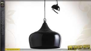 Lampe suspension en métal laqué noir et bois