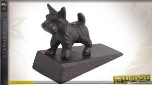 Cale-porte en fonte avec statuette décorative de chien, finition ancienne, 12cm