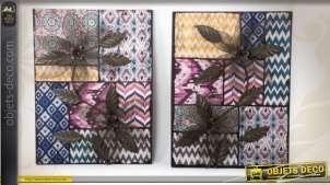 2 grands tableaux floraux en métal sur fond effet patchwork