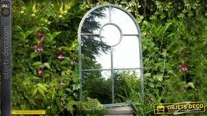 Miroir fenêtre en arcade de style industriel et ancien 124 cm