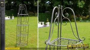 Etagère d'angle en métal et fer forgé coloris marron antique
