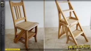 Chaise escabeau en bois massif, finition brute de style rustique, pratique et élégant, 89cm