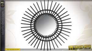 Miroir mural en rotin coloris noir Ø 60 cm