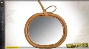 Miroir rétro de style ancien en rotin en forme de pomme stylisée, déco des années 90, 31cm