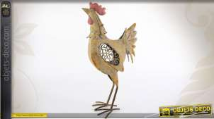 Poule décoration en métal effet vieilli et oxydé 48 cm