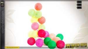 Guirlande 20 boules multicolores coton éclair. LED 150 cm Ø 6 cm
