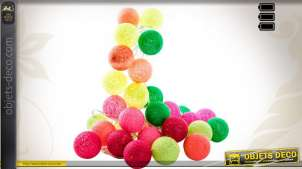 Suspension 30 boules lumineuses multicolores en coton 4,5 mètres