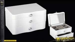 Coffret à bijoux en bois laqué blanc avec miroir