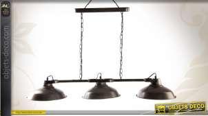 Suspension de style rétro et industriel à trois réflecteurs