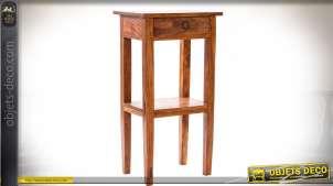 Sellette de style rustique en bois ciré avec tiroir et plateau d'entrejambes 76 cm