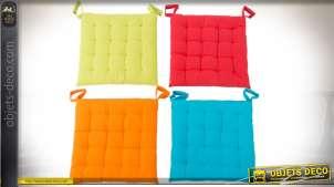Coussins galettes de chaises, 4 coloris, finition capitonnée 40 x 40 cm