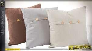 Série de 3 coussins en coton, livrés complets, 3 couleurs 40 x 40 cm
