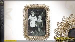 Cadre photo en métal ajouré coloris doré