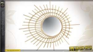Miroir rond avec spirale en rotin