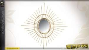 Miroir soleil ovale à encadrement en rotin clair