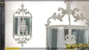 Applique murale en métal patine blanche vieillie