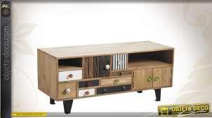 Meuble TV contemporain en bois compartimenté