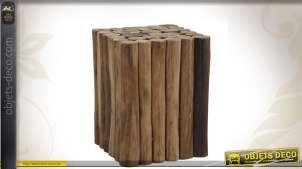 Tabouret carré en bois recyclé