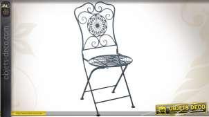 Chaise de jardin en métal bleu antique