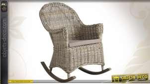 Rocking chair en poelet gris avec coussin