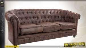 Canapé marron style Chesterfield 3 places en cuir synthétique